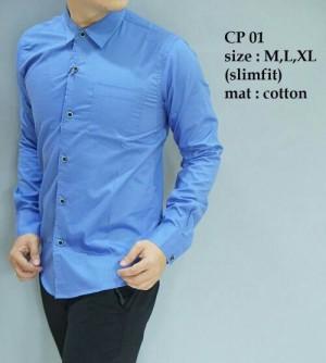 Baju Kemeja Pria Modern slim fit lengan panjang CP-01
