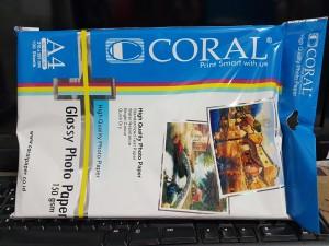 Kertas CORAL Glossy Photo Inkjet Paper A4 / 150 gsm Kertas Foto