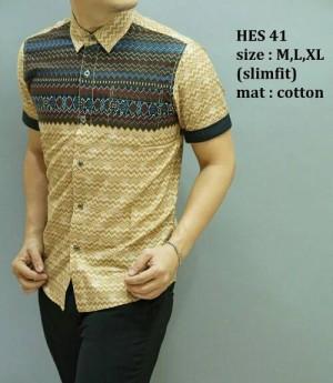 Kemeja Batik Pria Modern Slim fit Edisi Imlek Lengan pendek HES-41