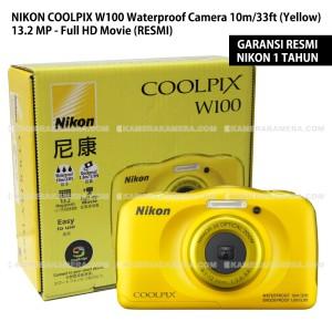 NIKON COOLPIX W100 Waterproof Camera Yellow 132 MP Full HD RESMI