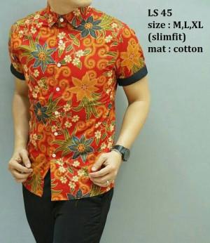 Baju Kemeja Batik Pria Modern Elegant Slim fit lengan pendek LS-45
