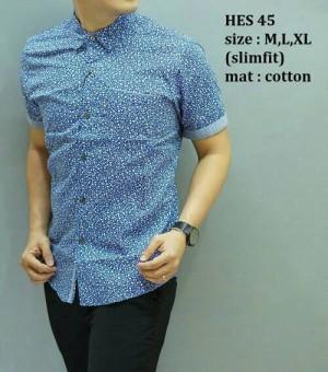Baju Batik Kemeja Pria Modern slim fit lengan pendek HES-45