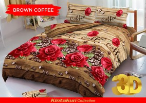 Sprei D'luxe Kintakun ukuran 160 x 200 – Brown Coffee