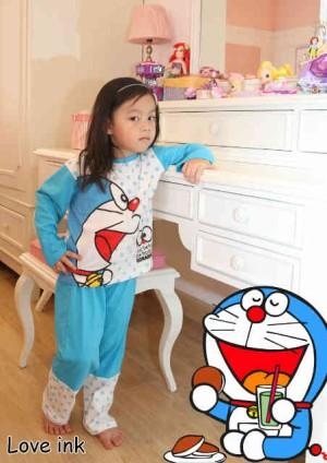 Setelan Piyama Anak Doraemon 100 Years - perempuan Untuk Usia 6 7 thn