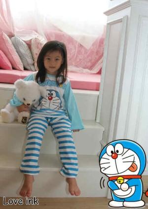 Setelan Piyama Anak Doraemon Blue Stripe - perempuan