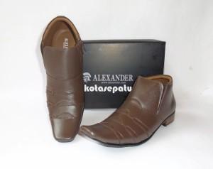 Sepatu Formal Kerja Kantor Pria Semi BOOT Kulit Asli Coklat Branded