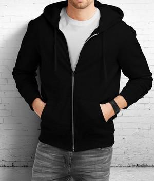 Jaket Sweater Hoodie Zipper Polos Hitam - Hijau Tua, XL