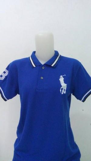 Kaos Berkerah Wanita Size L Warna Biru Elektrik Bordir Kuda Polo