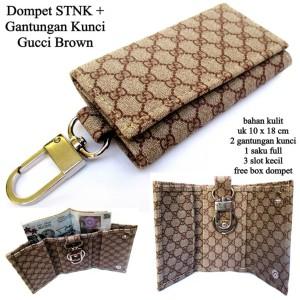 dompet kunci kulit gantung stnk motor dan mobil guucci brown