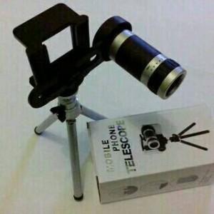 lensa telezoom 8x + tripod mobile phone telescope