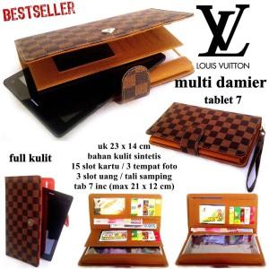 dompet wanita kulit tablet 7-8 inch damier coklat