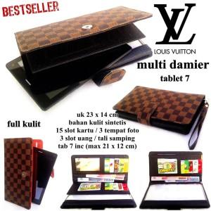 dompet wanita kulit tablet 7-8 inch damier hitam