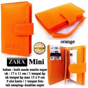 dompet wanita kulit hpo zara mini orange