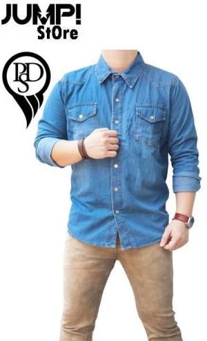 Premium Shirt / Kemeja Denim Soft Jeans Lengan Panjang PSD