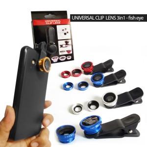 Universal Clip Lens 3in1 Fish Eyes / Lensa clip handphone