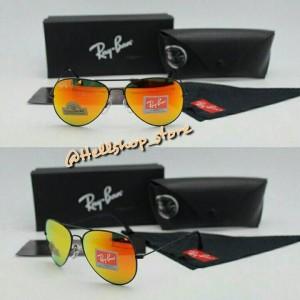 Kacamata Rayban Aviator 3026 Hitam Fire Lensa Diamond/premium