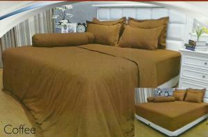 Sprei Polos Vallery 180×200 Tinggi 30cm Sprei Jacquard Warna COFFEE