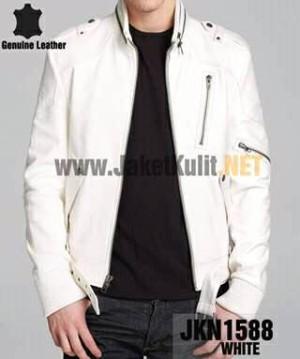 Jaket Kulit Asli Pria Elegan Putih