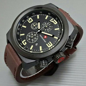 Jam Tangan Swiss Army Leather ( rolex,bvlgari,casio,expedition )