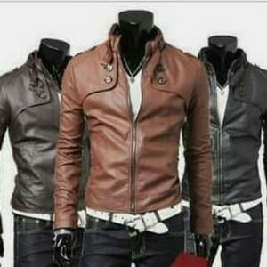 Jaket Semikulit Sintetis Pria Model Double Kancing Black/Brown