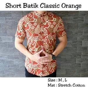 harga baju kemeja batik classic orange kemeja batik pria distro Tokopedia.com