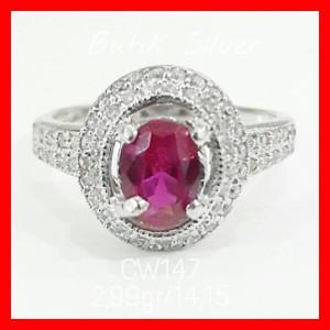 Cincin Ruby TR Batu Merah CW147 Silver Perak 925 Lapis Emas