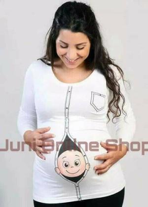 Baju Hamil Unik BP2 Putih Blouse Kaos Hamil Maternity T Shirt