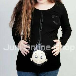 Baju Hamil Unik BP2 Hitam Blouse Kaos Hamil Maternity T Shirt