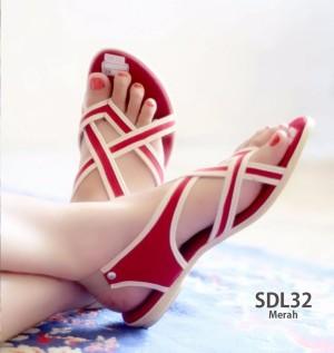 harga SDL32 Sandal Sepatu Wanita Flat Tali Cantik - Merah Tokopedia.com