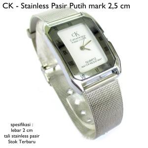 jam tangan wanita ck stainless pasir putih mark 2,5 cm full set