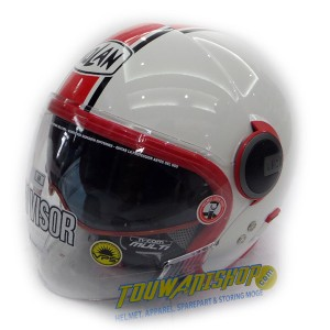 Helm Nolan N21 Visor Duetto Glossy white red Caferacer & Scooterist
