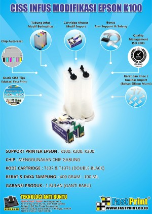harga Fast Print CISS Infus Modifikasi Epson K100 Kosongan Tokopedia.com