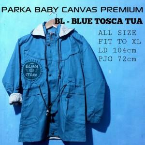 Real Pict Jaket Parka Cewek Casual Baby Canvas Premium Biru Tosca Tua