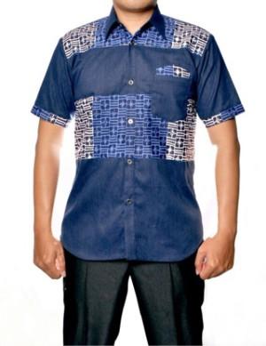 Jual Kemeja Batik Cap Modifikasi Denim Motif Bilik Biru  Hanlee