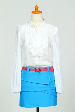 Blouse skirt dress blue black chiffon cotton belt baju gaun rok sabuk