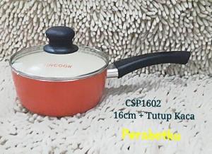 FINCOOK CSP1602 Ceramic Sauce Pan 16cm Tutup Kaca Panci lapis keramik