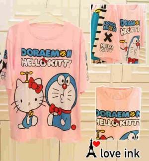 Kaos Atasan Doraemon Doraemon Pink Hello Kitty big Fit to XXL
