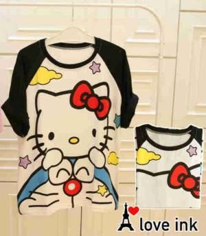 Kaos Atasan Hello Kitty Doremon Star Black Hand Fit to XXL