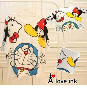 Kaos Atasan White Doraemon Kitty Mickey big Fit to XXL