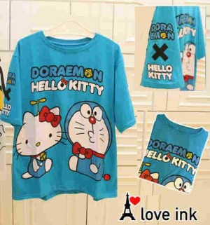 Kaos Atasan Doraemon Doraemon Blue Hello Kitty big Fit to XXL