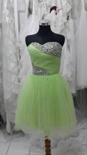 dress pendek hijau muda