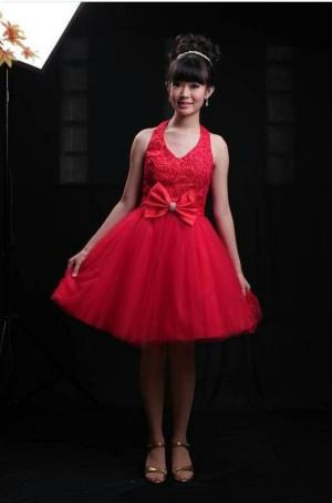 dress pendek merah halter