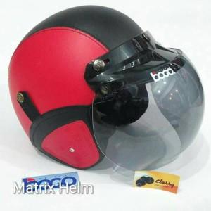 Helm Retro Bogo Merah Hitam