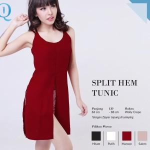 harga CRG162049 - Split Hem Tunic / Tank Top Panjang tali silang belakang Tokopedia.com