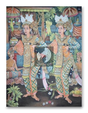 Lukisan Penari Bali Tradisi Ubud