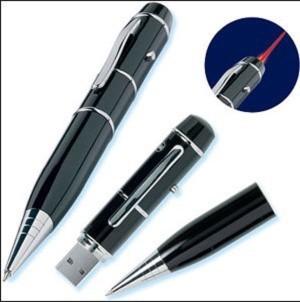 Laser Pointer Ball Pen Dengan 8GB usb flash drive  warna Hitam