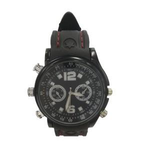 8GB R2 Water Resistant Spy watch Camera Black rubber strap Hitam