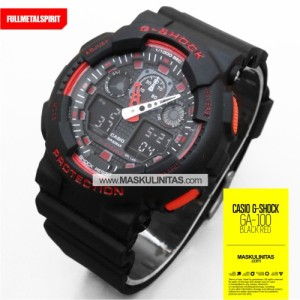 Jam Tangan Pria Casio G-Shock GA-100  Black Red