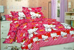 Sprei Crysta 3D Ukuran 180 x 200 Motif Hello Kitty