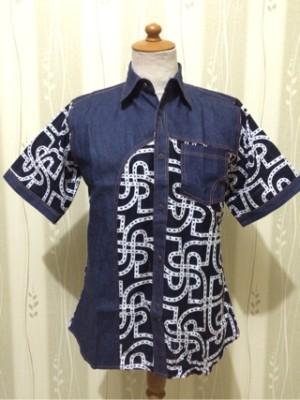 Jual kemeja batik  hem batik jeans  batik roosmijati  Batik